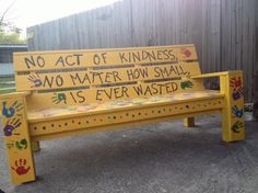 """Walking thru my sons school yard... I noticed a bench on the pavement with bright paint around it. I asked my son """"is that the only place to sit around here lol"""" And he said """"no, that's the buddy bench! When someone feels lonely or they have nobody to play with, they sit there and people ask them to play"""" Wow. Amazing.   I then told him how awesome that was and asked if he has ever used it?  He said """"yeah, when I was new I sat there and someone came to me and asked me to play. I felt happy…"""
