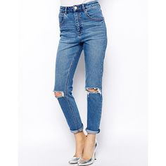 ASOS Farleigh High Waist Slim Mom Jeans in Mid Wash Blue with Busted... (7.810 HUF) ❤ liked on Polyvore featuring jeans, pants, bottoms, denim, trousers, blue, blue jeans, high rise jeans, blue denim jeans and high waisted blue jeans