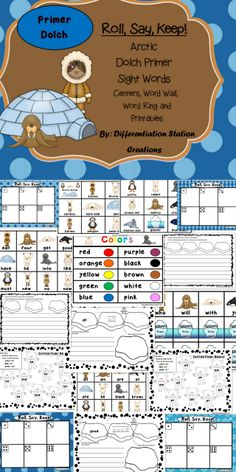 "Arctic Winter ""Roll, Say, Keep!"" Primer Dolch Sight Words. Centers, Games, Printables, Word Wall. Kindergarten, first grade, special education, homeschool.  Differentiated. 85 pages!"