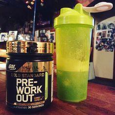 Optimum nutrition gold standard pre workout ! Green apple