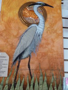 Quilted art heron piece with metallics.