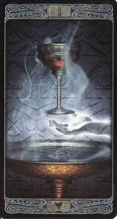 The Ace of Cups, from the Ghost Tarot by Davide Corsi. http://lifeofhimm.wordpress.com/2014/10/20/todays-tarot-your-cup-runneth-over/: