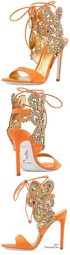 Rene Caovilla Multi-Crystal Crown Ankle Wrap Sandal in Orange §