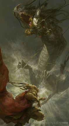 The War of Snake  - by  Fenghua Zhong #LoveArt - http://wp.me/p6qjkV-lg4  #Art