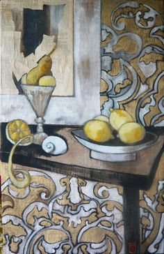 유 Still Life Brushstrokes 유 Nature Morte Paintings - Marie Godest, Nature morte aux citrons