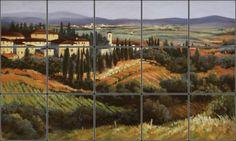 Picturesque Siena Italy landscape for kitchen backsplash remodel idea.