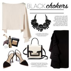 """""""Not-So-Basic: Black Chokers"""" by helenevlacho ❤ liked on Polyvore featuring Anja, Moschino, Kate Spade, contestentry and blackchokers"""