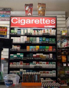tobacco and cigarette display racks
