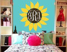 Sunflower Monogram Wall Decal | Flower Decal w/ Initials