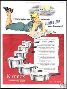 The classic look - modern at the time - of I've always dreamt of pans. Vintage Advertising Posters, Vintage Advertisements, Vintage Ads, Vintage Prints, Vintage Posters, Retro Ads, 1940s Kitchen, Vintage Kitchen, Aluminum Company