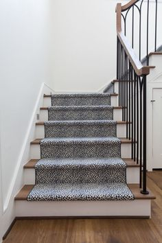 Get A Little Wild With Your Stair! Many Broadloom Carpets Can Be Turned  Into A Stair Runner. The One Above Is A Navy Cheetah Print Bound In Solid  Navy.