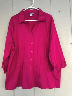 Catherines Women's Shirt Cotton Pink Stretch Button Down Top Blouse Plus Size 2X #Catherines #ButtonDownShirt #Casual