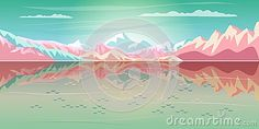 Summer sunset painting poster on the theme of rocky mountains, lake, blue sky, airplane, Tropical sea beach landscape, sunrise morning, Adventure, Traveling, Voyage, Camping, outdoor recreation, adventures in nature illustration Vector Art. Sunrise cartoon. BON VOYAGE! concept design. 2018 new collection.
