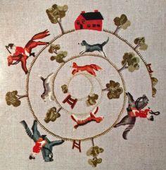 Elsa Williams' the Fox Hunt, crewel embroidery Rare-Elsa-Williams-Crewel-Embroidery-kit-Riding-to-Hounds-Fox-Hunt-Grushkin