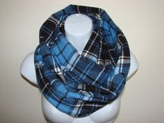 blue plaid infinity scarf flannel infinity scarf by OtiliaBoutique Plaid Flannel, Blue Plaid, Plaid Scarf, Plaid Infinity Scarf, Teal And Grey, Scarf Styles, Womens Scarves, Autumn Winter Fashion, Stylish
