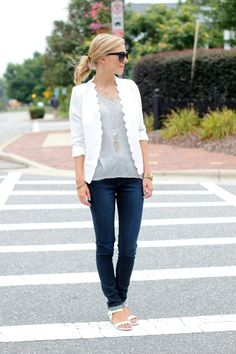 white scallop blazer