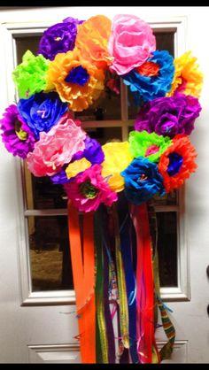 Love this fiesta paper flower wreath by Gretchen Saathoff.   Cinco de Mayo, spring, etc....