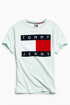 a2889ad81 Slide View  1  Tommy Jeans  90s Flocked Logo Tee American Eagle Mens Shirts