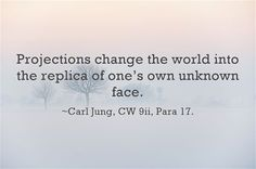 """Projections change the world into the replica of one's own unknown face."" Carl Jung"