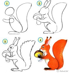 Easy Painting and Drawings for Kids. SQUIRREL, Step by Step Instructions / How to Draw. Painting and Drawing for Kids Doodle Drawings, Easy Drawings, Animal Drawings, Drawing Sketches, Pencil Drawings, Drawing Animals, Drawing Lessons, Drawing Techniques, Art Lessons