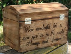 HUGE Personalized Wedding Card Treasure Chest Box Rustic Engraved Wood Customized With Your Special Message