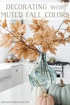 Light colored fall leaves in light green glass vase. I love muted colors and neutral decor and I usually decorate for fall that way too. I want my fall decor to work seamless with the rest of my house and not stand out too much. Fall Home Decor, Autumn Home, Diy Home Decor, Muted Colors, Brown Colors, Fall Inspiration, White Pumpkins, Mini Pumpkins, Fall Crafts