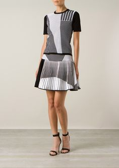 Prabal Gurung Skirts :: Prabal Gurung black and white stretch knitted skirt with geometric patterns | Montaigne Market