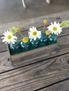 2017   One of our pavilion centerpieces: a wood planter box with teal bottles and daisies, billy buttons, and bunny tails.