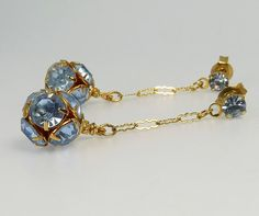 Vintage Art Deco Blue Rhinestone Ball Bead Pierced by jujubee1