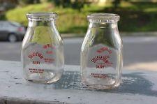 2 Differ Vermont Antique Milk Bottles College View Dairy Northfield Pyro H Pint