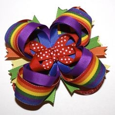 Rainbow and Polka Dots Stacked Boutique Hair Bow