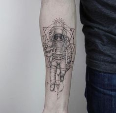 Astronaut lines and shapes geometric tattoo