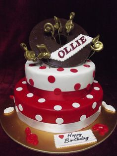 www.frescofoods.co.nz occasion cakes in Auckland New Zealand Rock and roll 2 tiered cake polka dots