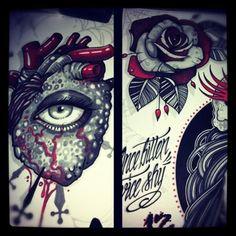 New Old School Tattoo Satanic Tattoos, Ink Addiction, Tattoo Designs, Tattoo Ideas, Body Modifications, Tattoo Drawings, Tattoo Inspiration, Drawing Sketches, Tattoos For Guys