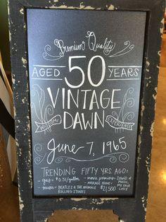 50th birthday party chalkboard