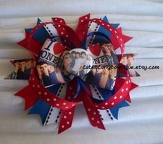 One Direction Hair bow Girls Blue Red Black by CuteNCurlyBowtique, $8.95