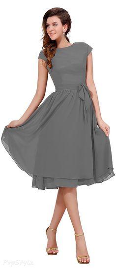 Cap Sleeves Knee Length Party Dress