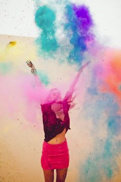 Take colored powder to the beach and have photoshoot with friends ... Maybe even mix some glitter in with the powder ;)