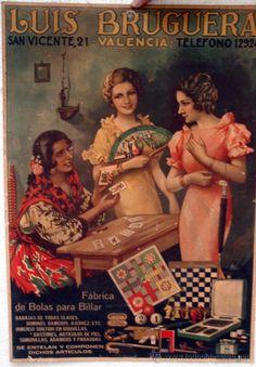 CARTEL PUBLICIDAD LUIS BRUGUERA, FABRICA DE BOLAS PARA VILLAR, VALENCIA, CARTON DURO, POR BARRERA (Coleccionismo - Carteles Gran Formato - Carteles Publicitarios)
