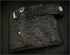 Leather Biker Wallet Pattern | Python Carved Leather Biker Wallet : ワイルドハーツ/WILD HEARTS