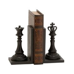 Any chess master knows the king and queen are inseparable. But in this case, you can make an exception for some well-stacked reading material. These beautiful polystone bookends add an earthy, classic twist to your shelving.