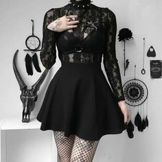 But devilish inside🖤 . Cute Goth Outfits, Gothic Outfits, Cute Casual Outfits, Grunge Outfits, Pretty Outfits, Egirl Fashion, Cute Fashion, Fashion Outfits, Aesthetic Grunge Outfit