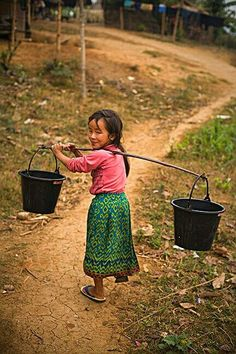 Water pails, Mekong, Vietnam - by Nick Zungoli, USA Kids Around The World, We Are The World, Small World, People Around The World, Around The Worlds, Beautiful Children, Beautiful People, Beauty Dish, Art Magique