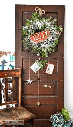 From faux garland to a real rustic wreath for Christmas... for free! via http://www.funkyjunkinteriors.net/