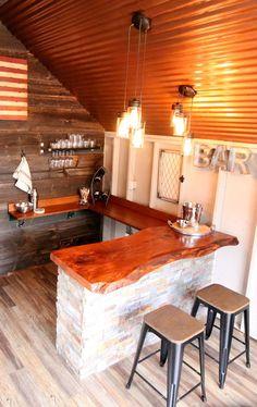 Garden - DIY Bar in the He Shed by Kloter Farms - Wallpaper Pinme Backyard Bar, Backyard Sheds, Backyard Retreat, Wedding Backyard, Backyard Playground, Man Cave Shed, Man Shed, Diy Bar, Party Shed
