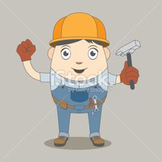 Man construction worker cartoon character - Vector illustration (EPS) - Includes large JPEG (min. 1900 x 2800 px)