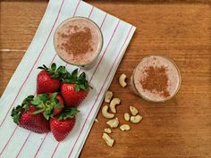 The Strawberry Goji Custard Smoothie reminds us of those cute little custard dessert tarts. Adding cashews to smoothies not only makes for an ultra creamy drink, it also contains an abundant amount of minerals such as magnesium and iron. Magnesium helps to regulate muscle and nerve function, blood s