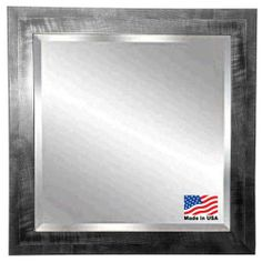 Rayne Black Smoke Wall Mirror.  Add visual interest with this unique shiny black frame with a gray brushed grain design. This mirror includes a 1-inch beveled edge for a polished finish.