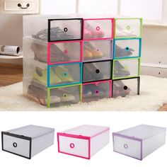 Ybmhome Plastic Shoe Box Shoe Storage Foldable Clear Container for
