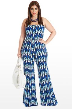 Say Aqua Zig-Zag Tube Plus Size Jumpsuit